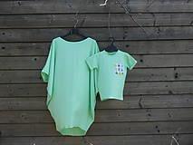 Detské oblečenie - Tričko - žiarivá mint s príšerkami - 9414936_