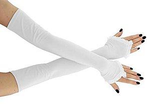 Rukavice - Dámské svadobné rukavice bielé 0025b - 9415229_