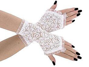 Rukavice - Dámské čipkové bielé rukavice 0670 - 9415300_