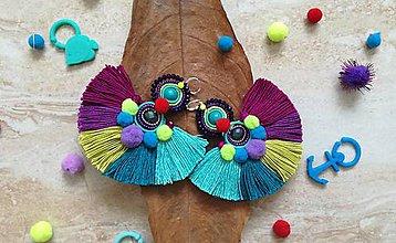 Náušnice - Flamenco strapcove nausnicky fialove - 9414367_