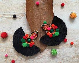 Náušnice - Flamenco strapcove nausnicky cierne - 9414539_