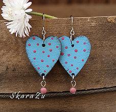Náušnice - Heart dots // Light blue - 9412060_