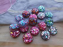 Komponenty - Trblietavé viacfarebné kabošony - pár - 9414125_