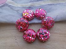 - Trblietavé viacfarebné kabošony - pár (Ružovostrieborná) - 9414130_