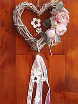 Dekorácie - Vintage srdce- jemná staroružová 25cm - 9413175_