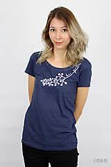 Tričká - Dámske tričko modrý melír kvet VI - 9412672_