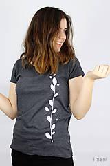 Tričká - Dámske tričko sivý melír kvet II - 9413631_
