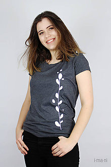 Tričká - Dámske tričko sivý melír kvet II - 9413634_