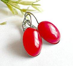 Náušnice - Red Jade French Clasp Earrings / Náušnice s červeným jadeitom /0296 - 9415648_