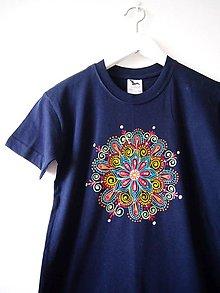 Detské oblečenie - Detské tmavomodré tričko s mandalkou - 10r. - 9415777_