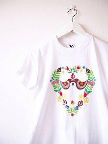 Detské oblečenie - Detské biele folk tričko - 8 a 10r. - 9416227_