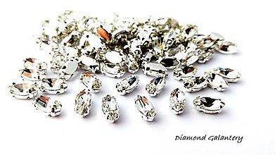 Galantéria - Našívacia aplikácia - 4x8 mm - Crystal - 9417257_