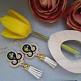 Náušnice - štebotavé strapce - ručne šité šujtášové náušnice - 9415381_