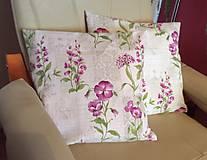 Úžitkový textil - obliečka na vankúšik fialové kvety - 9418499_