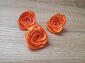 Materiál ručne robený - Oranžové bodkované ružičky - 9415500_
