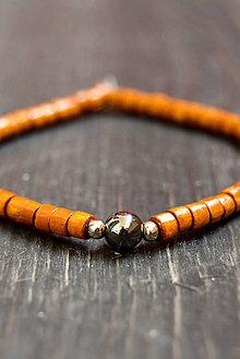 Náramky - Wooden bracelet & hematit - 9415718_