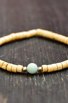 Náramky - Wooden bracelet & amazonit - 9415792_