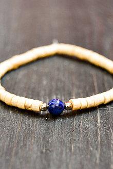 Náramky - Wooden bracelet & lapis lazuli - 9415805_