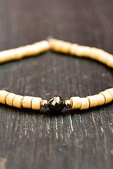 Náramky - Wooden bracelet & hematit - 9415834_