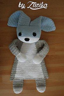 Hračky - Zajačik- mojkáčik (Sivo- modro- biely) - 9417136_