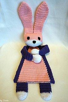 Hračky - Zajačik- mojkáčik (Fialovo- ružovo- biely) - 9417160_