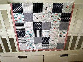 Úžitkový textil - Patchwork deka pre bábätko do postieľky Námorník - 9416863_