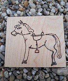 """Hračky - Vypalované drevené kartičky pre deti """"Dedove obrázky"""" (Koník) - 9415351_"""