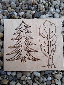 """Hračky - Vypalované drevené kartičky pre deti """"Dedove obrázky"""" (Stromčeky) - 9415352_"""