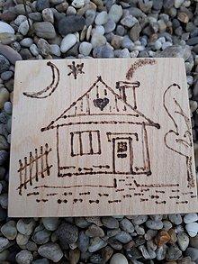 """Hračky - Vypalované drevené kartičky pre deti """"Dedove obrázky"""" (Domček) - 9415354_"""
