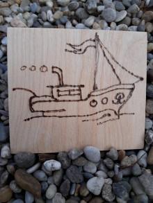 """Hračky - Vypalované drevené kartičky pre deti """"Dedove obrázky"""" (Loďka) - 9415355_"""