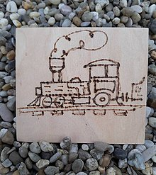 """Hračky - Vypalované drevené kartičky pre deti """"Dedove obrázky"""" (Vláčik) - 9415356_"""