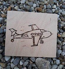"""Hračky - Vypalované drevené kartičky pre deti """"Dedove obrázky"""" (Lietadlo) - 9415357_"""