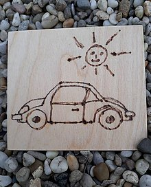 """Hračky - Vypalované drevené kartičky pre deti """"Dedove obrázky"""" (Autíčko) - 9415358_"""