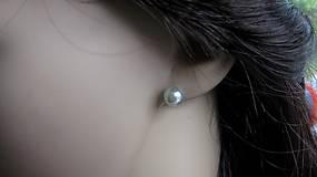 Náušnice - Perly napichovačky menšie - striebro 925 (svetlo sivé, č. 1990) - 9417219_