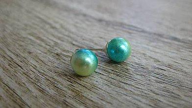 Náušnice - Perly napichovačky menšie - striebro 925 (dúhové, č. 1993) - 9417288_