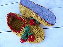 - jahôdkové papuče podšité filcom - 9418628_