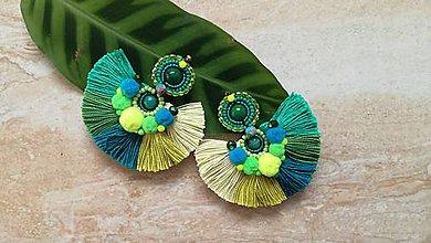 Náušnice - Flamenco strapcove nausnicky zelene - 9416178_