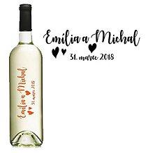 Darčeky pre svadobčanov - Svadobné etikety na fľaše s menami - 9416657_