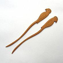 Ozdoby do vlasov - Jelšové ihlice do vlasov - papagáje - 9417433_