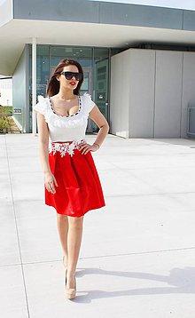 Šaty - Biely top červená sukňa zo 139,- eur na 119 - 9419430_