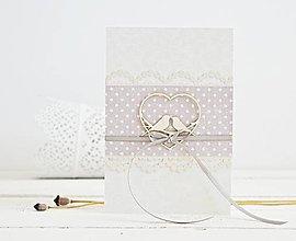 Papiernictvo - Svadobný pozdrav - srdiečko s vtáčikmi na sivej - 9420652_