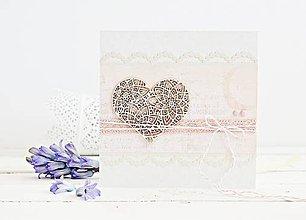 Papiernictvo - Svadobný pozdrav - srdiečko s čipkou - 9420687_