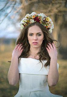 Ozdoby do vlasov - Svadobná kvetinová parta Lúka - 9420774_