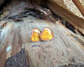 Náušnice - Srdiečka 13 mm chirurgická oceľ (oranžové) - 9420933_