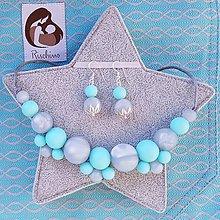 """Sady šperkov - Set silikónový náhrdelník a náušnice k šatke """"Silver Waves"""" - 9420328_"""