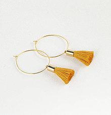 Náušnice - Zlaté kruhové náušnice s horčicovým strapčekom + 20 farieb - 9420836_
