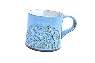 Nádoby - Čipkovaný pohár (Tyrkysová) - 9419892_