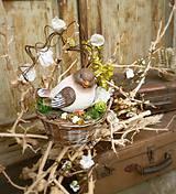 Dekorácie - Dekorácia s vtáčikom v košíčku - 9423621_