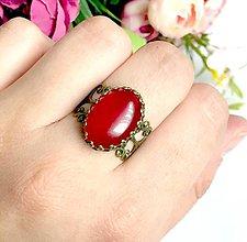 Prstene - Bronze Romantic Red Jade Ring / Bronzový prsteň s červeným jadeitom /0294 - 9424446_