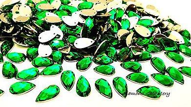 Galantéria - Ozdobné kamienky našívacie 8 x 13 mm - Zelené - 9424658_